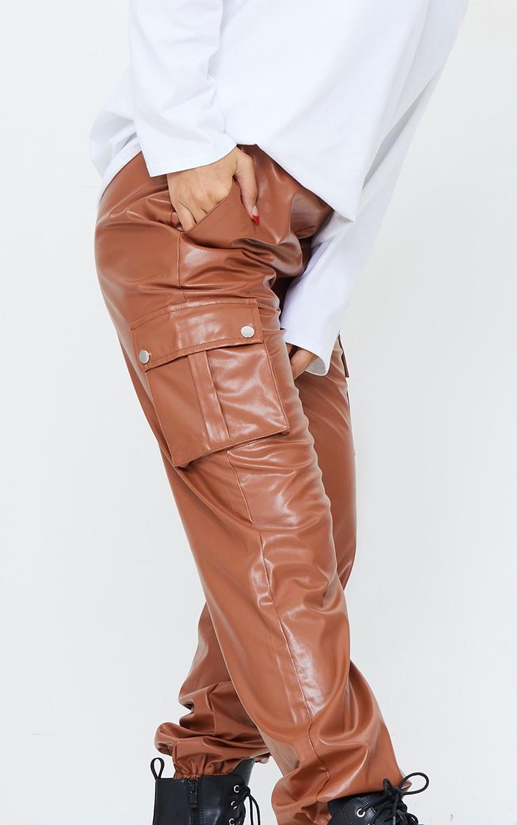 Tan Faux Leather Cargo Pants 4