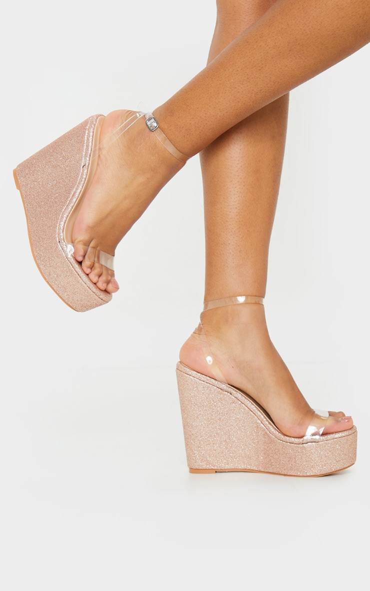 Rose Gold Glitter Clear Strap Wedges 1