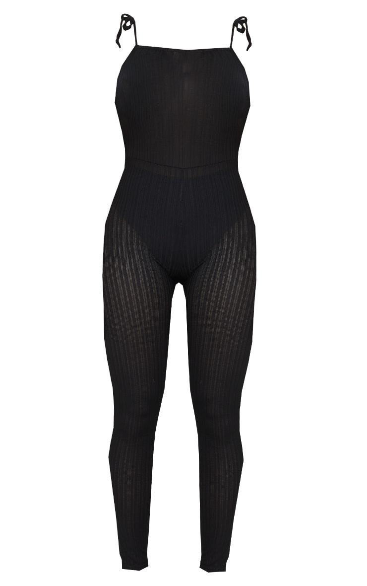 Shape Black Sheer Textured Strappy Back Split Hem Jumpsuit 5