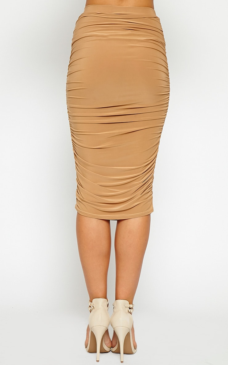 Saylor Camel Slinky Gathered Midi Skirt 3