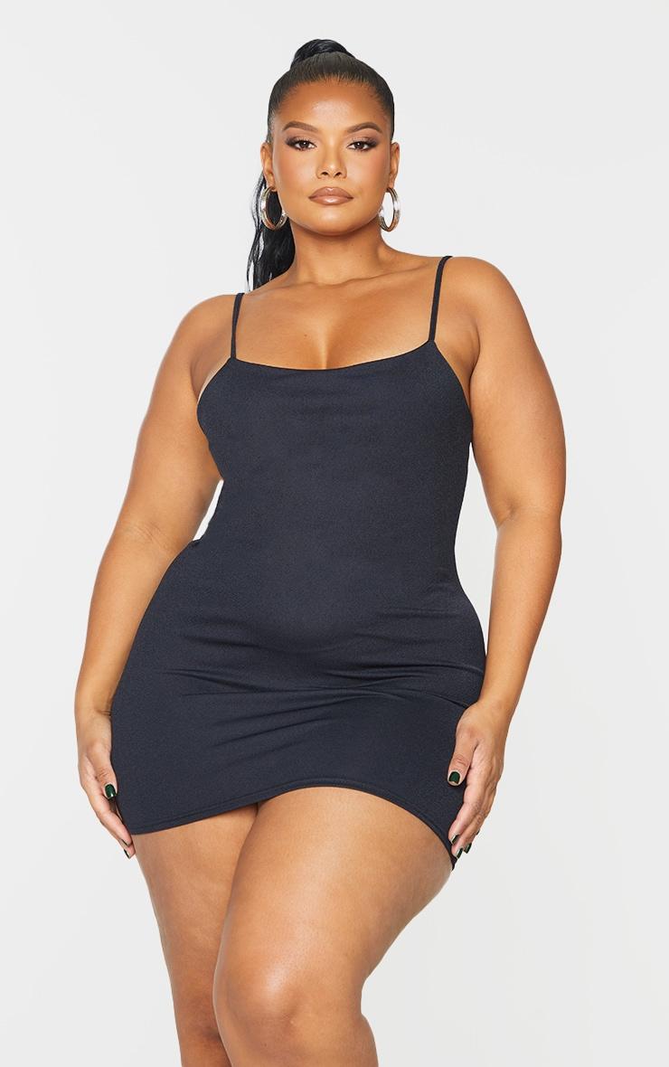 Plus Black Strappy Straight Neck Bodycon Dress 1