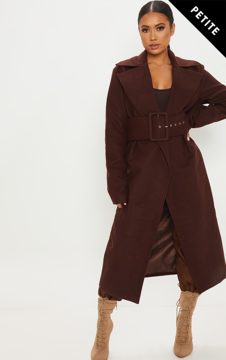 Petite Chocolate Brown Belted Coat 1