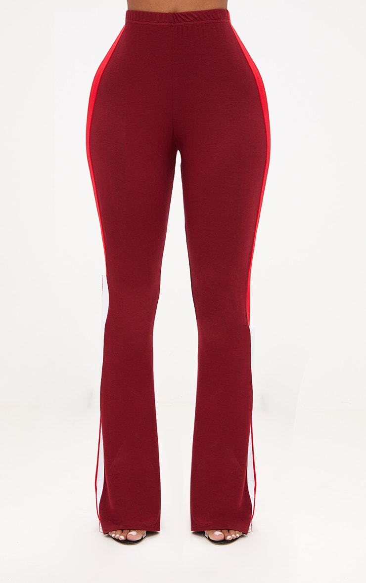 Shape Burgundy/Red Stripe Side Flared Trousers 2