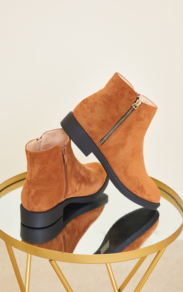 Tan Faux Suede Basic Ankle Boots 3