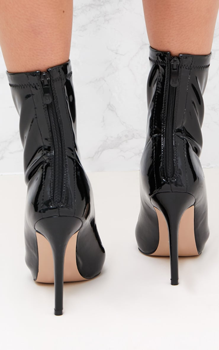 Black Vinyl Pointed Ankle Boots 4