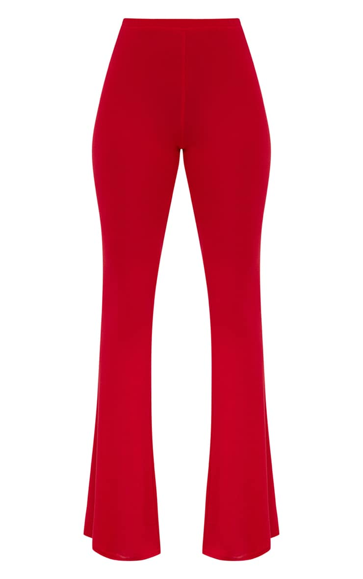 Petite Red Basic Flare Leg Trousers 3