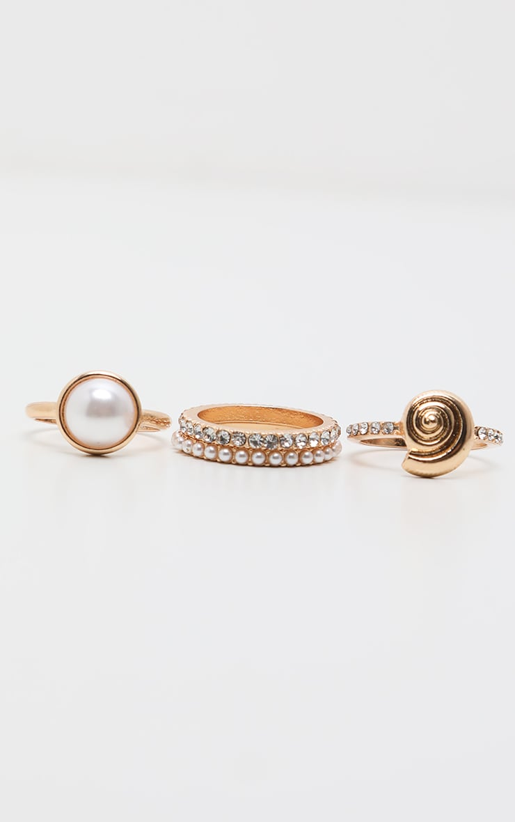 Gold Multi Textured Pearl Rings 2