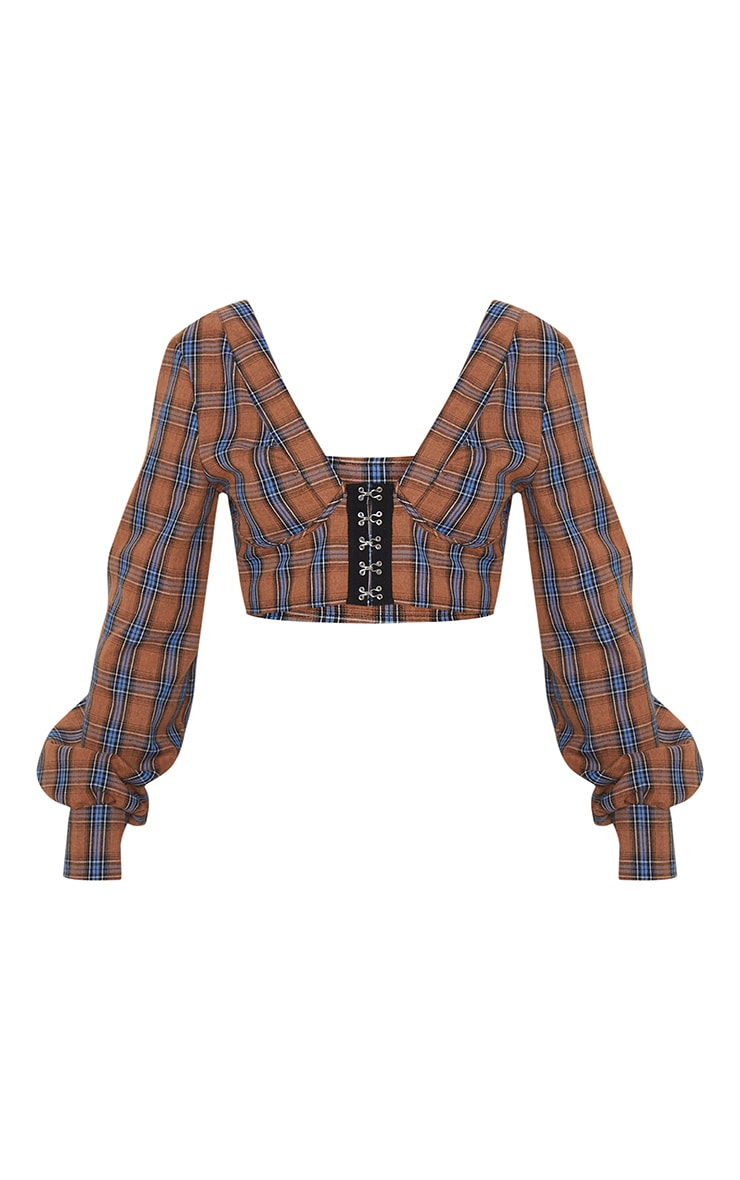 Brown Check Hook and Eye Plunge Long Sleeve Crop Top 3