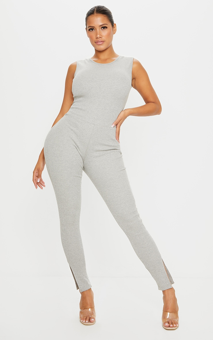 Shape Grey Thick Rib Scoop Back Sleeveless Jumpsuit 1