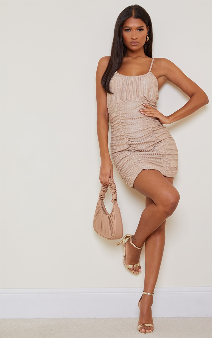 Gold Glitter Rib Strappy Ruched Detail Bodycon Dress 1