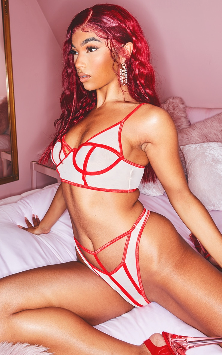 Red Contrast Binding Detail Cut Out Mesh Thong