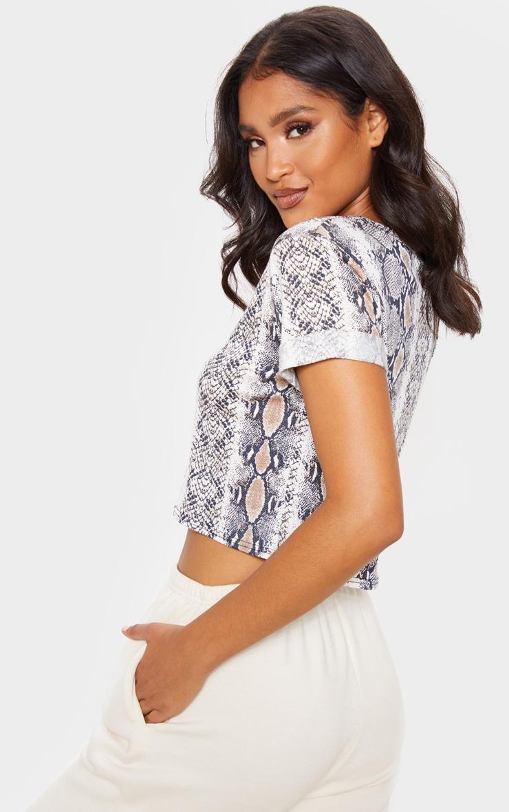 Basic Brown Snake Roll Sleeve Crop T Shirt 2