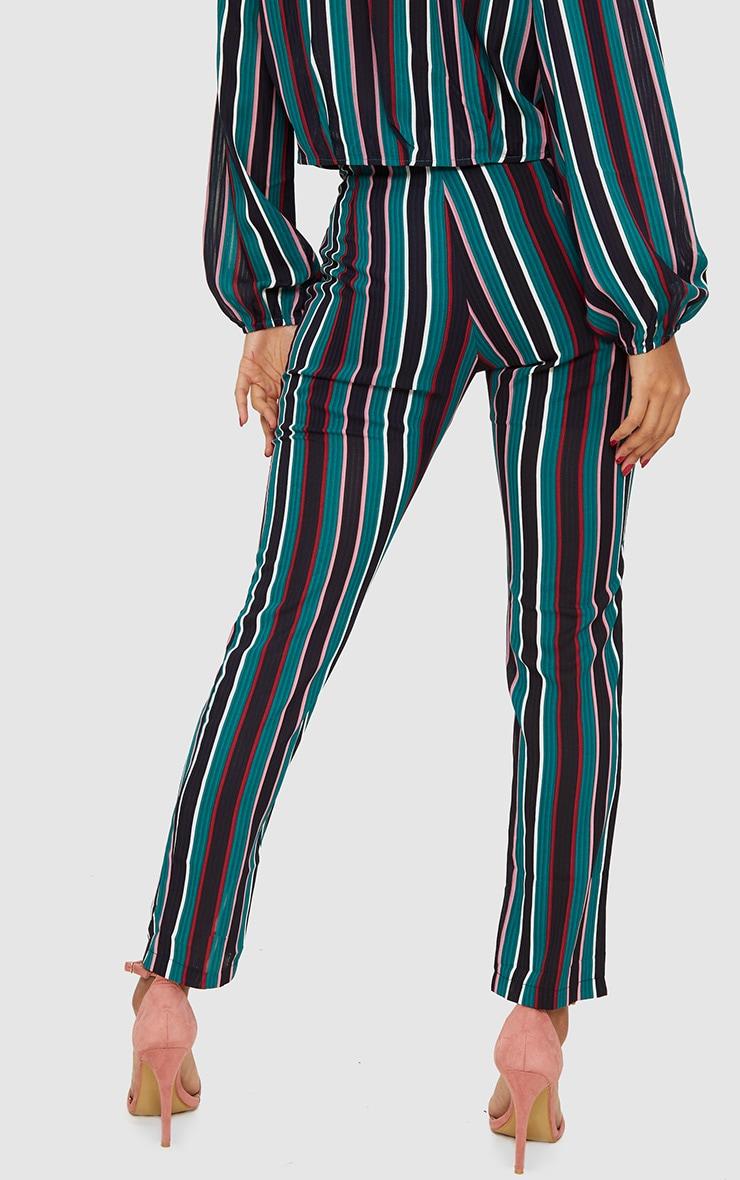 Teal Stripe Woven Straight Leg Trousers 4