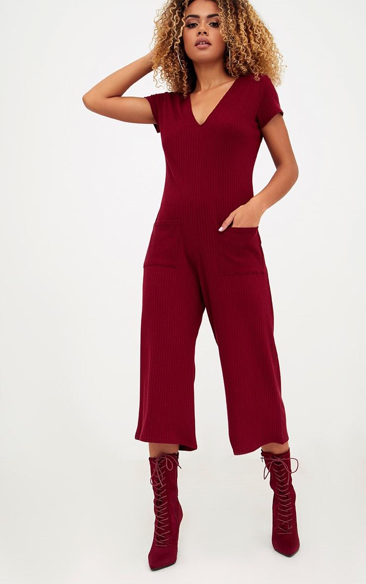 Burgundy Short Sleeve Ribbed Culottes Pocket Jumpsuit 1