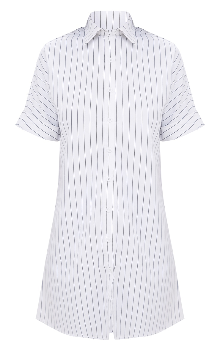 White Striped Short Sleeve Shirt Dress 3