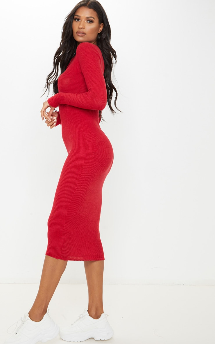 Scarlet Brushed Rib Button Front Midaxi Dress 4