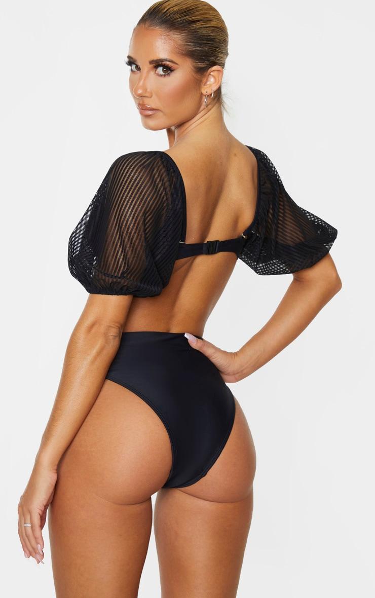 Black Sheer Stripe Puff Sleeve Cupped Bikini Top 2