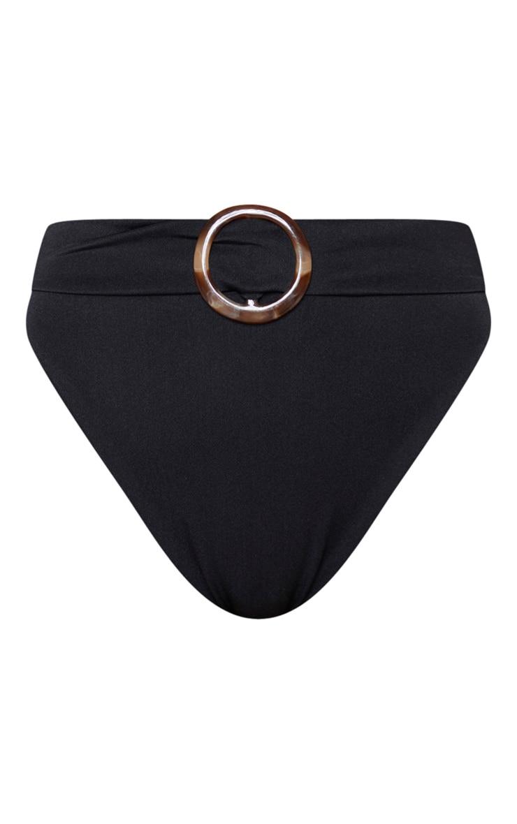 Black High Waist Tortoise Ring Bikini Bottom 6