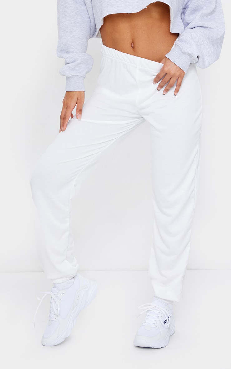 Cream Basic Cuffed Hem Joggers 2