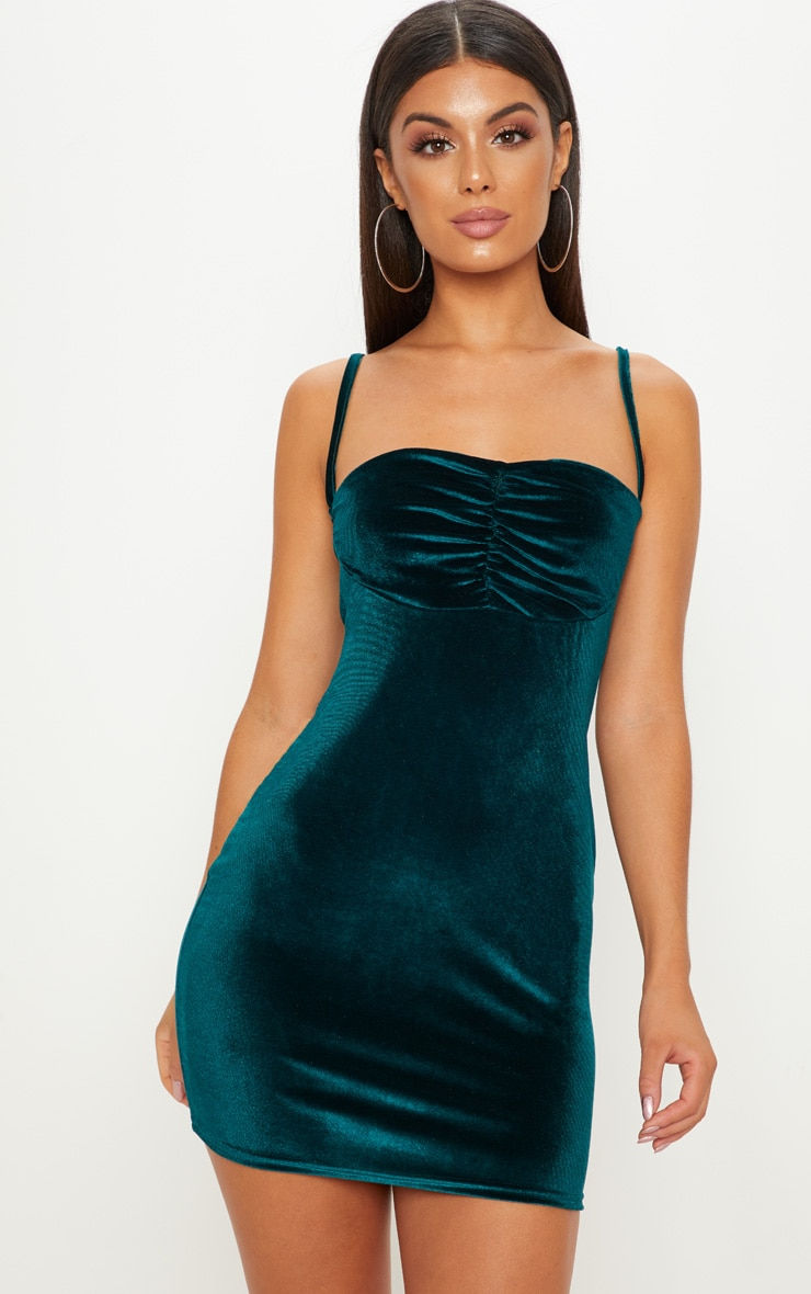 Emerald Green Strappy Velvet Ruched Bodycon Dress