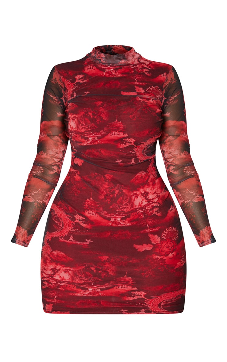 Shape Red Oriental Print High Neck Mesh Bodycon Dress 3