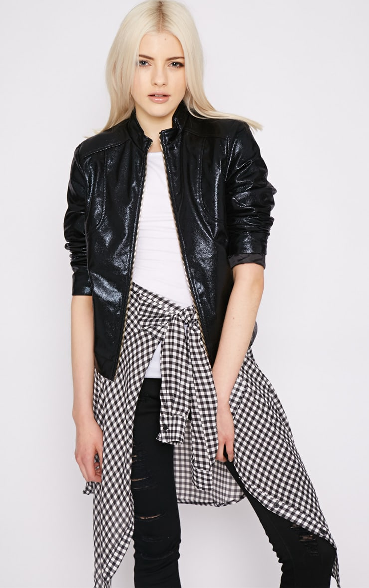 Farah Black High Shine Bomber Jacket 5