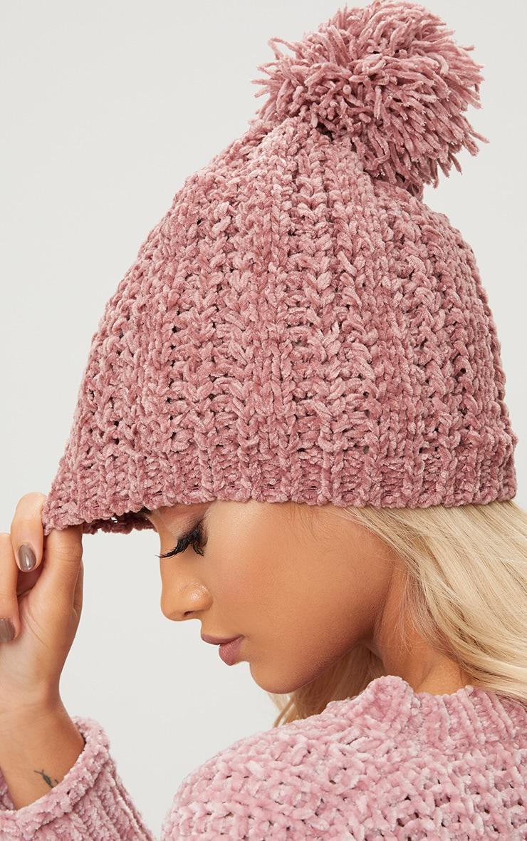 Rose Pom Pom Chenille Beanie Hat 3