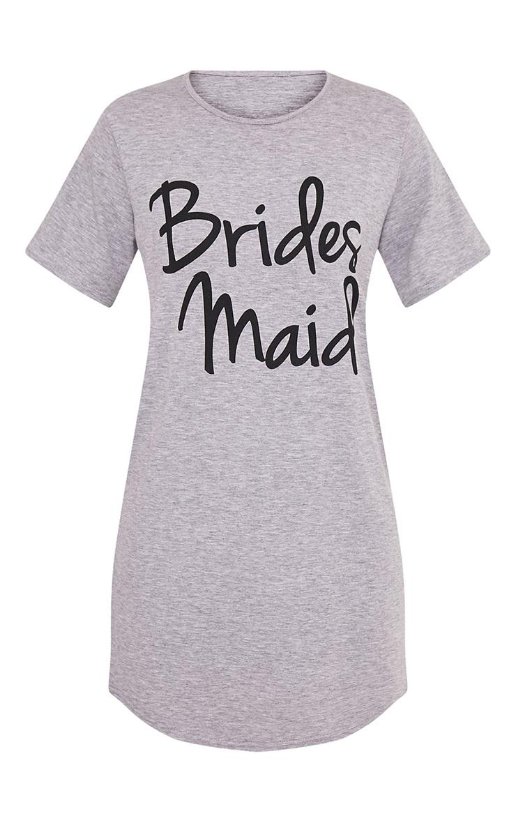 Chemise de nuit surdimensionnée grise à slogan Bridesmaid. 3
