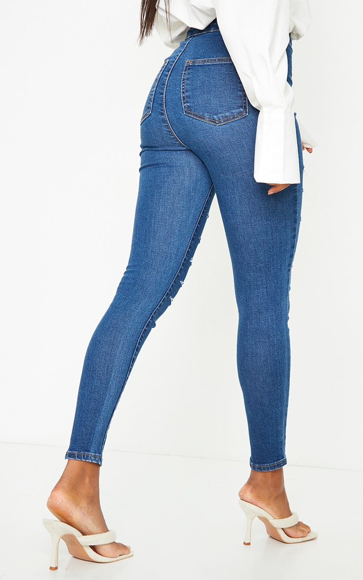 PRETTYLITTLETHING Mid Blue Wash Rip Distressed Disco Skinny Jeans 3