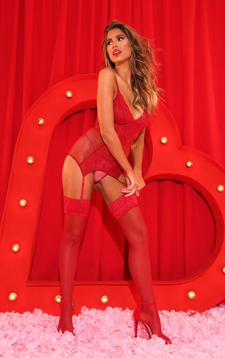 Red Fishnet Lace Suspender Body & Panties Set 4
