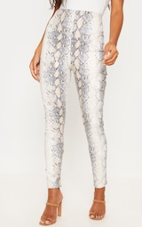 White Snakeskin Faux Leather Skinny Pants 2