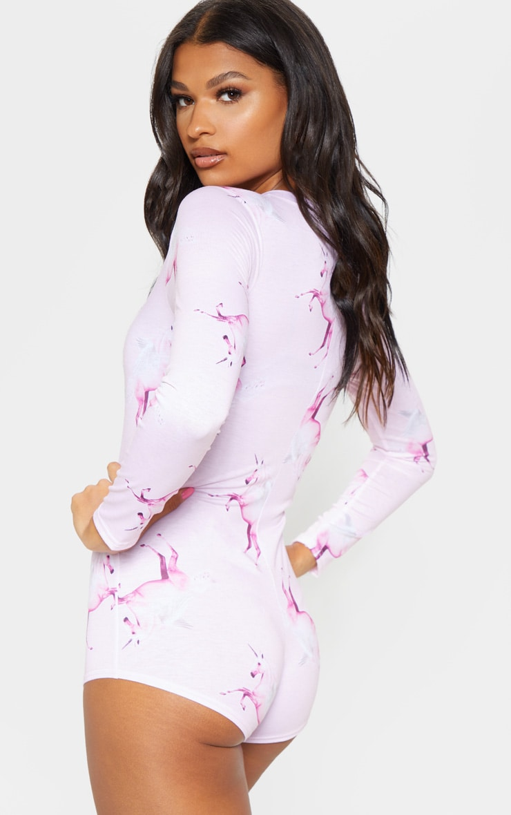 PRETTYLITTLETHING Unicorn Pink PJ Romper 2