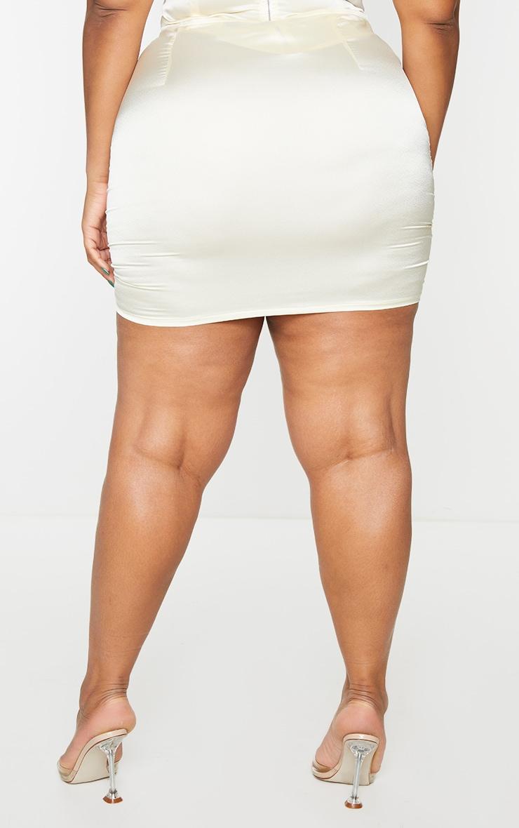 Plus Cream Satin Ruched Skirt 3