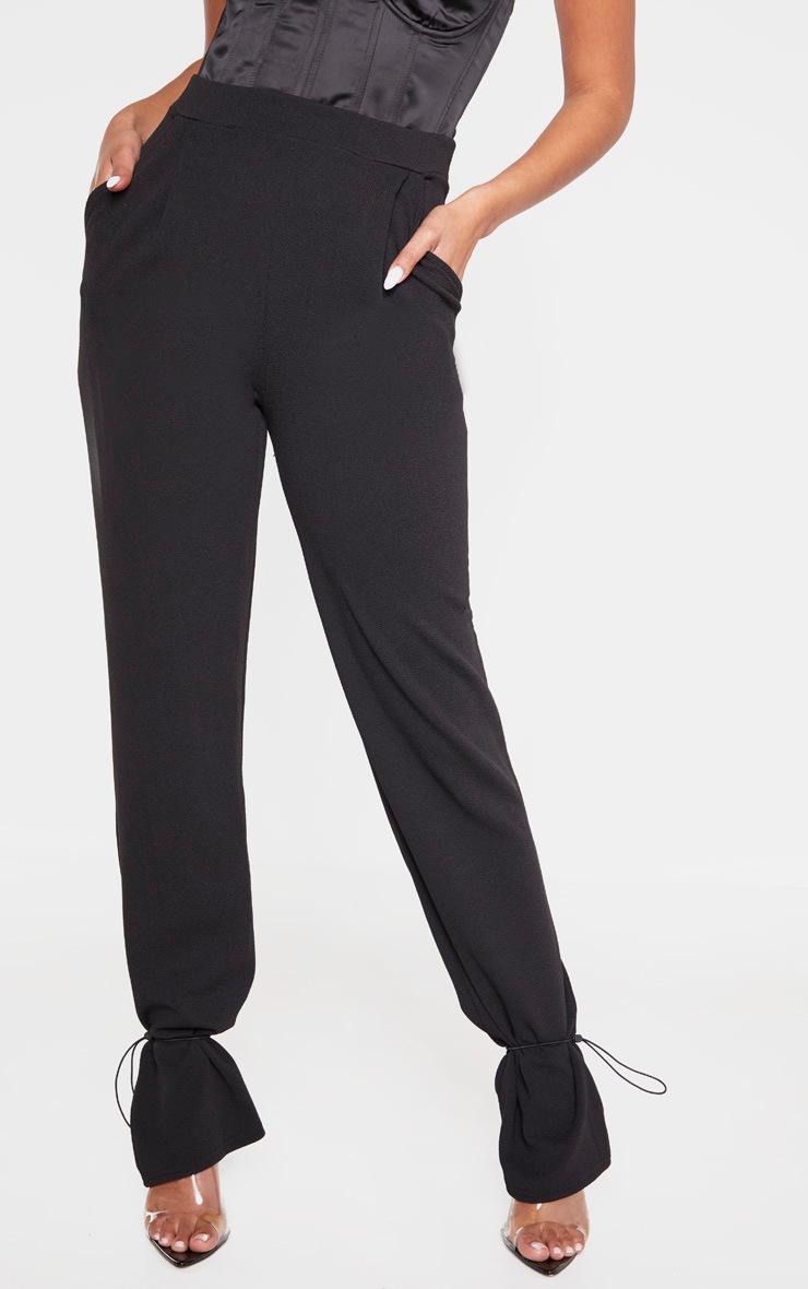 Black Crepe Toggle Hem Pants 2