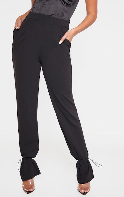 Black Crepe Toggle Hem Trousers