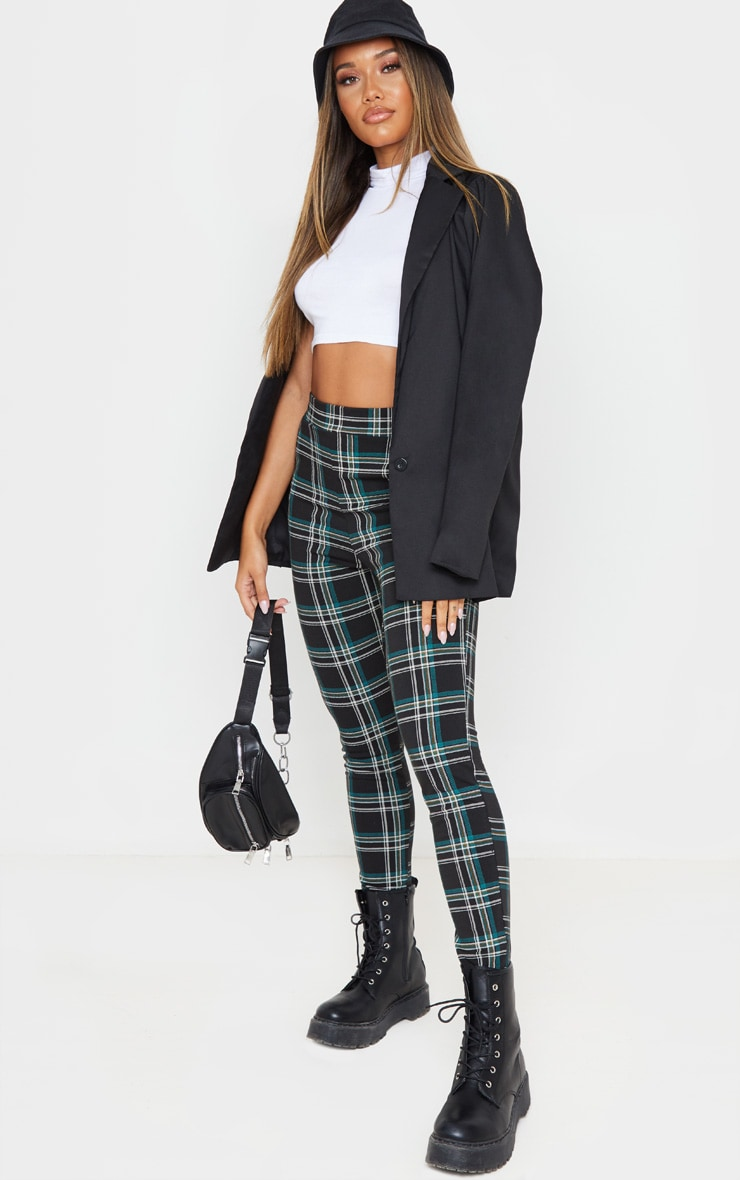 Black Checked Skinny Trousers 1