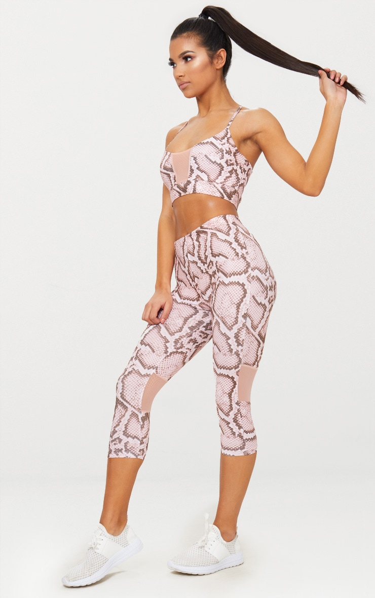 Pink Snake Print 3/4 Leggings