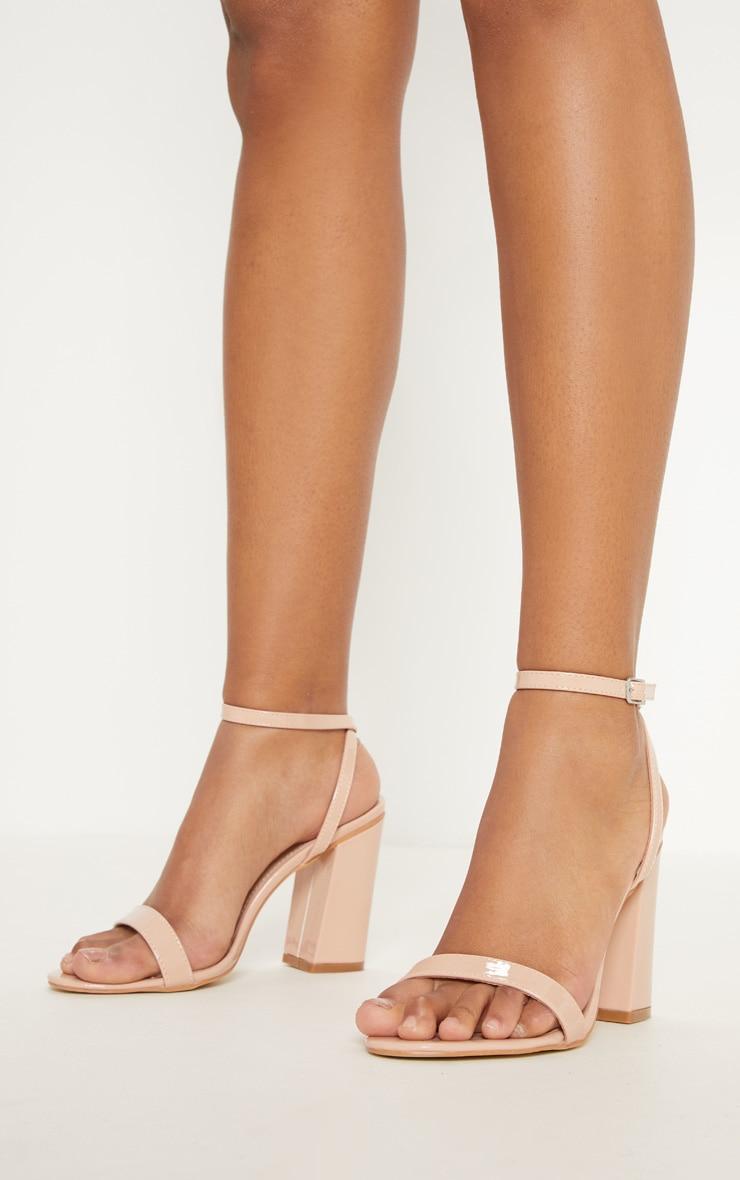 Nude Ankle Strap Block Heel 2