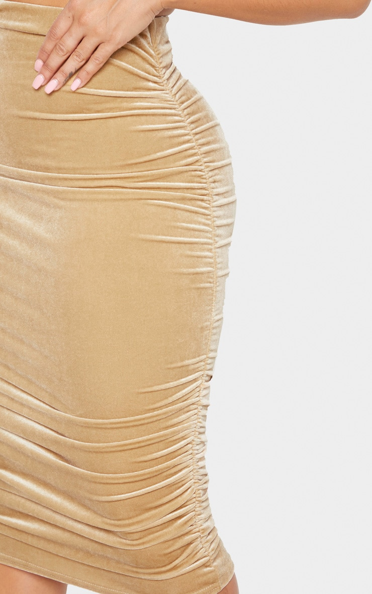 Shape Champagne Velvet Ruched Side Bodycon Skirt 4
