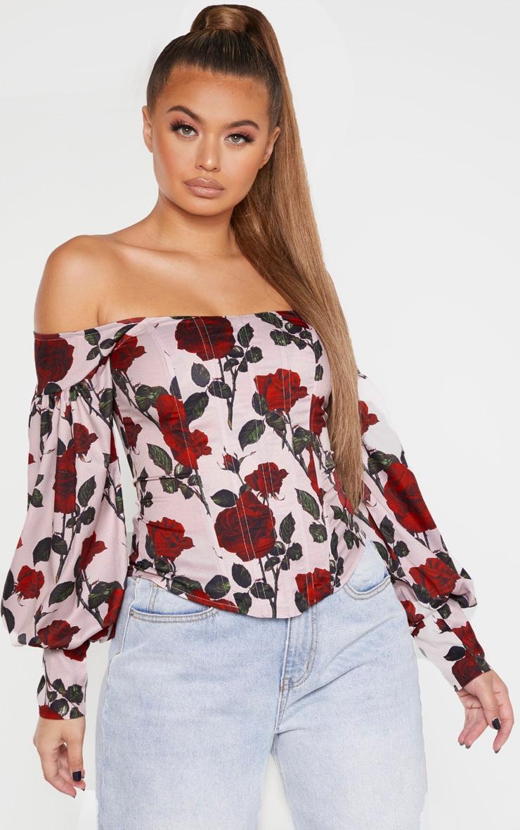 Top style corset à roses rouges à col bateau et manches ballon 1