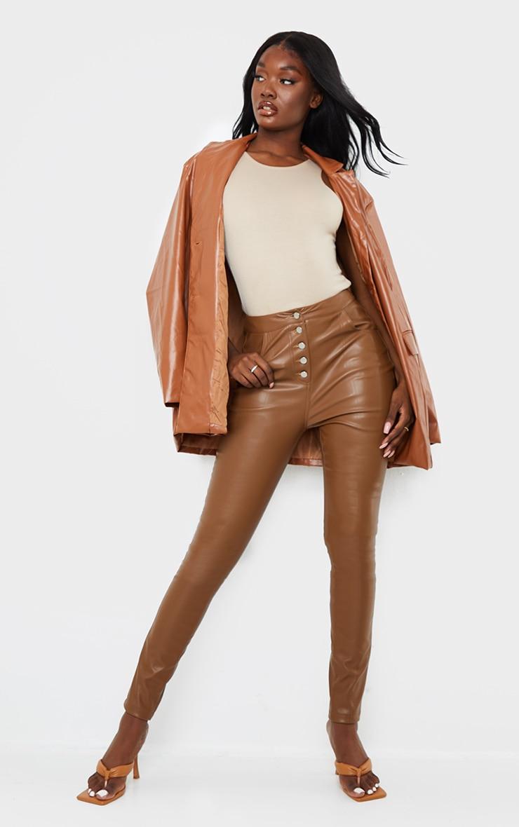Tall Brown PU Button Detail Pants 1