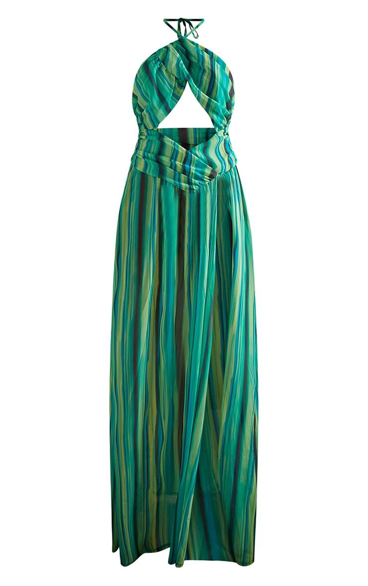 Green Abstract Stripe Chiffon Maxi Beach Dress 5