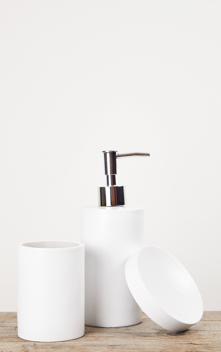 Matte White 3 Piece Bathroom Soap Set 5
