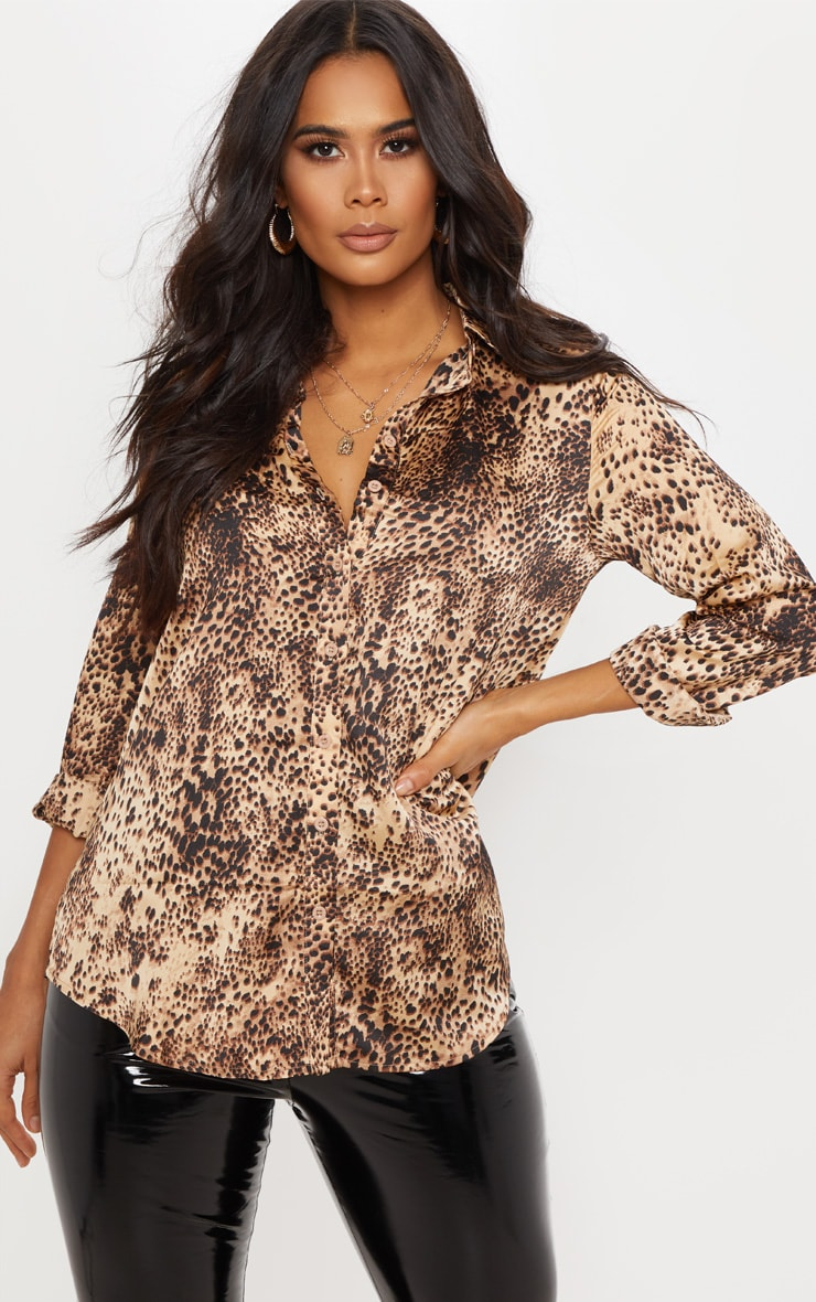 Tan Leopard Print Oversized Button Front Shirt