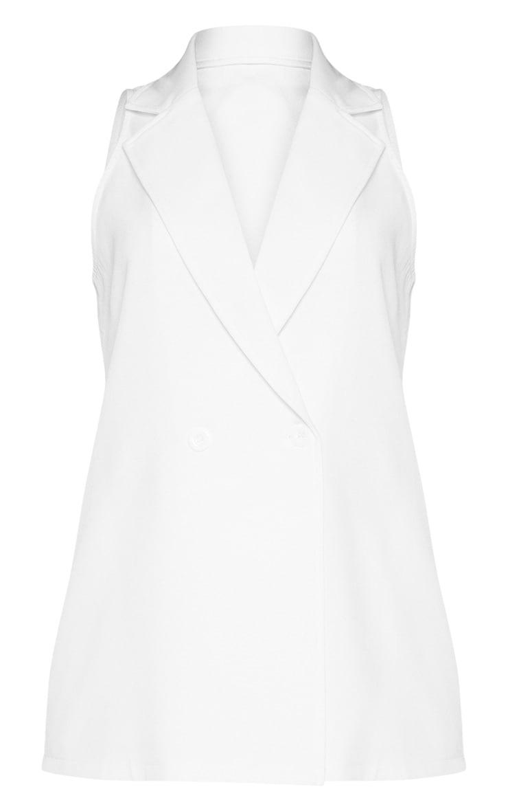 White Sleeveless Blazer  3