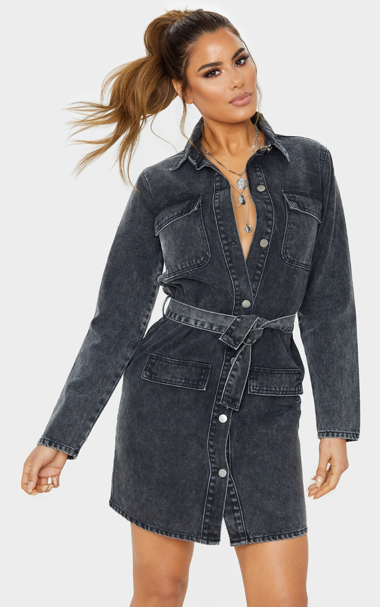 Tall Black Belted Denim Shirt Dress  1