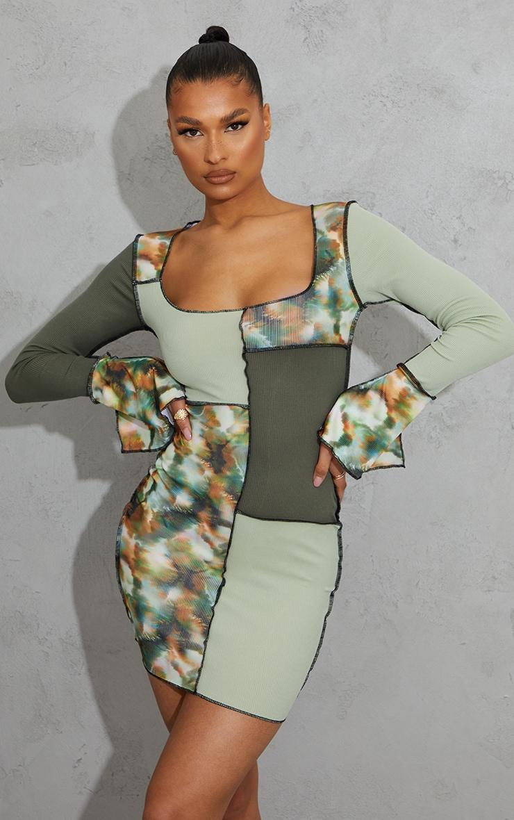 Green Tie Dye Patchwork Detail Overlock Stitch Long Sleeve Bodycon Dress 1