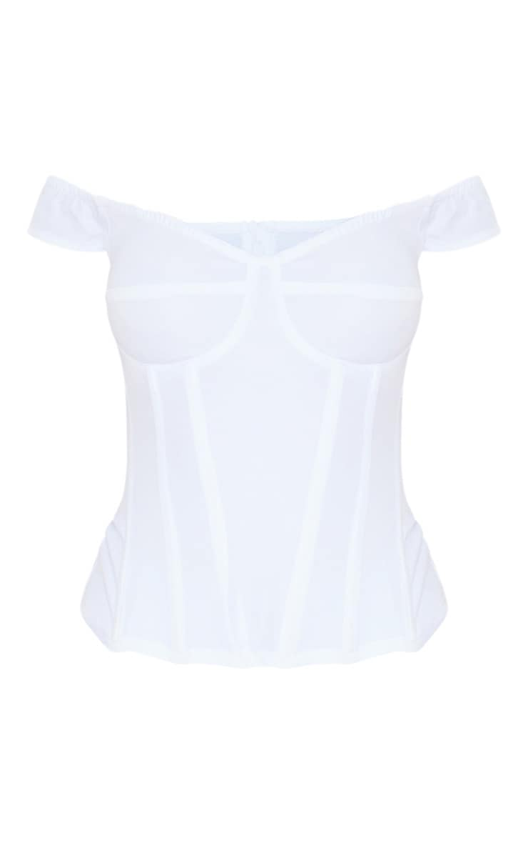 White Woven Frill Shoulder Corset Top 3