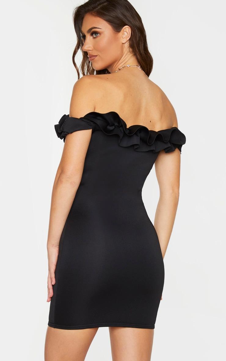 For plus black bardot frill detail bodycon dress coat jill zebra black