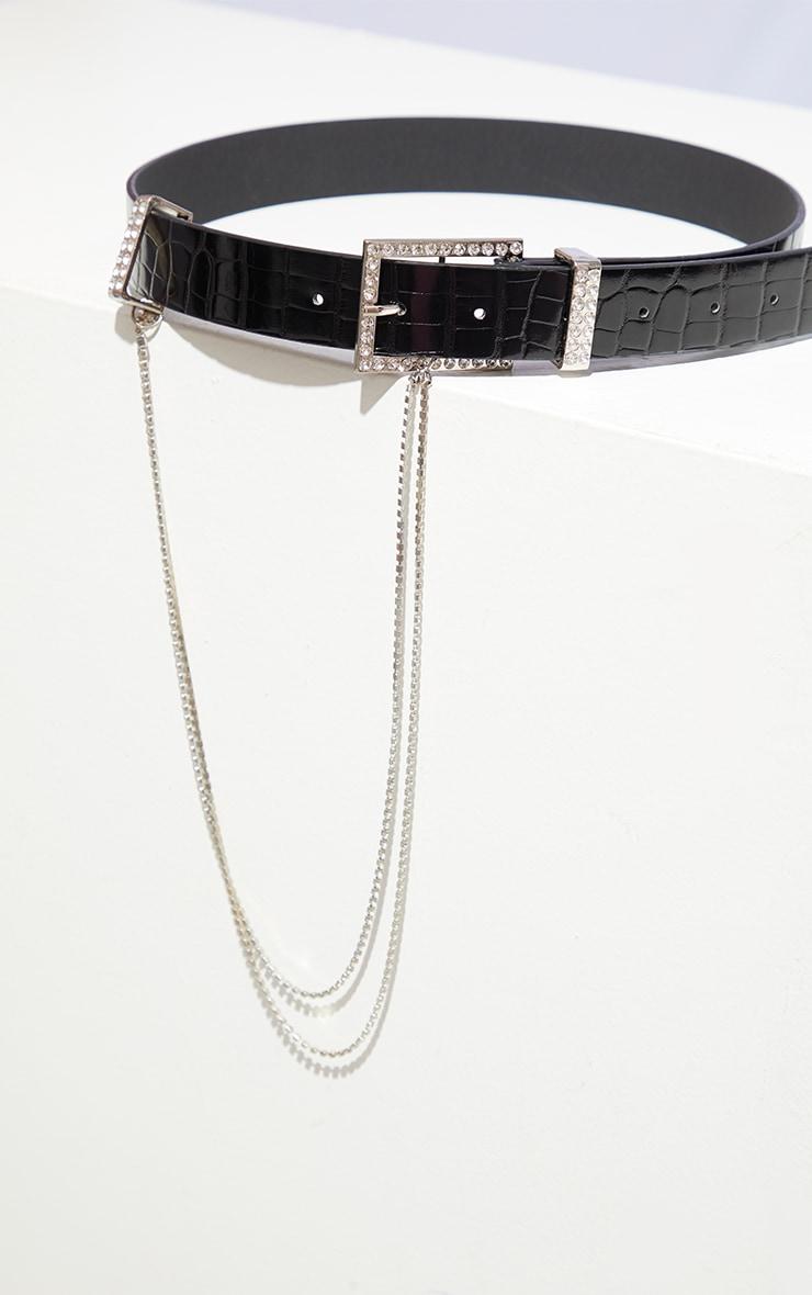 Black PU Snake Silver Diamante Tassel Waist Belt 2
